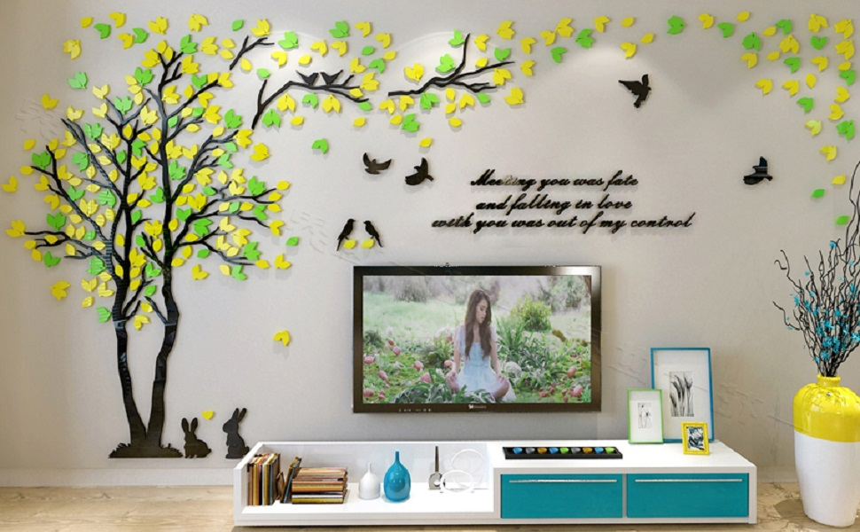Amazon Com Kinbedy Acrylic 3d Tree Wall Stickers Wall Decal Easy To Install Apply Diy Decor Sticker Home Art Decor Tree With Yellow And Green Leaves Kitchen Dining