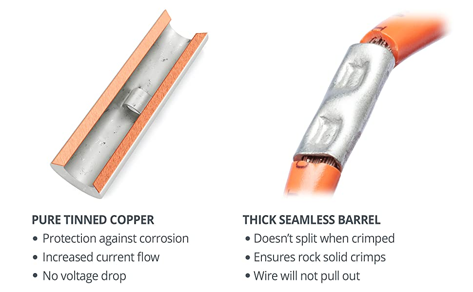 Wirefy heat shrink butt connectors pure thick tinned copper brazed seams strong crimp solid barrel