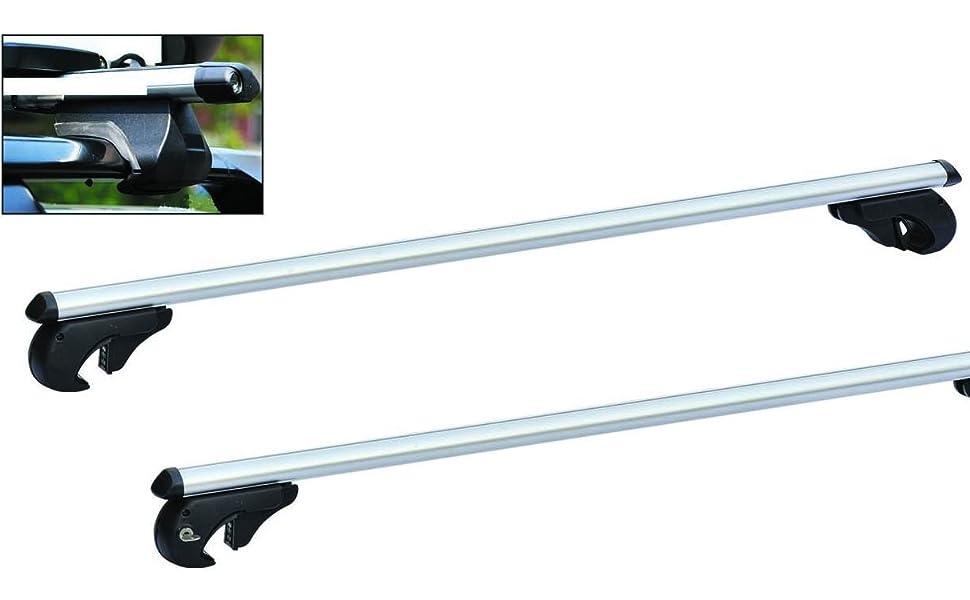 Hartool Universal Dachgepäckträger Relingträger Aluminiumlegierung Voll Abschließbar Lastenträger Tragfähigkeit Bis 75kg Auto