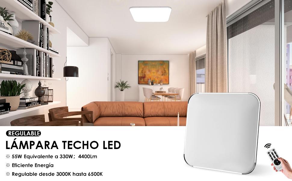 lvwit lámpara de techo led regulable 55w