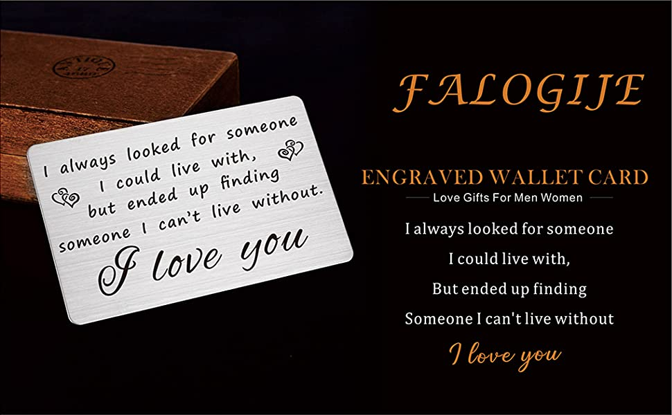 Steel Wallet Love Note Insert Engraved Cards for Husband Birthday Gifts for Men Unique Boyfriend Steel Anniversary Gifts for Men Personalized Message Card Mini Love Notes