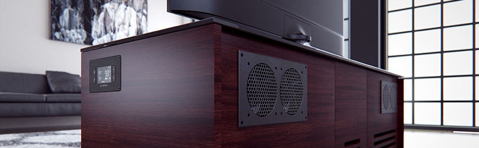 AC Infinity AIRPLATE S2 Quiet Cooling Blower Fan System with Speed Control Home Theater AV Cabinets