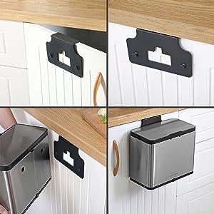 Cubo Puerta Cocina 8 filtros de Recambio Papelera Compost Puerta de Cocina para residuos Cubo desechos Basura con Tapa SILBERTHAL Cubo Compost Cocina en Acero Inoxidable