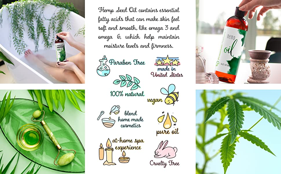 Organic Hemp Seed Carrier Oil - Pure Hemp Oil Organic Cold Pressed Unrefined Massage Oi