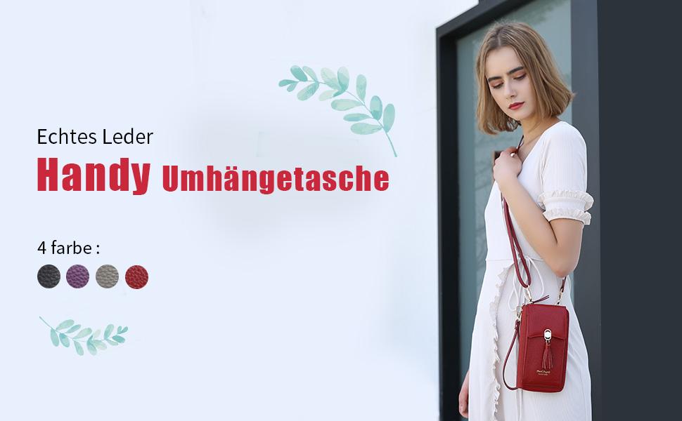 Weiches Echtes Leder Handy Umhängetasche andytasche Geldbörse Damen RFID Schutz