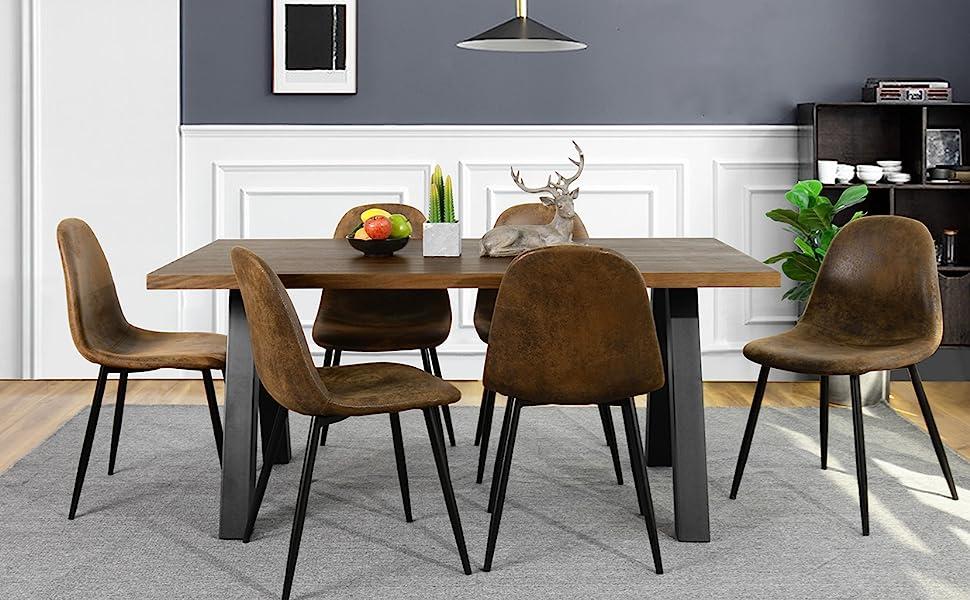 Set di 4 sedie da pranzo Retro vintage in pelle scamosciata scamosciata marrone con gambe nere