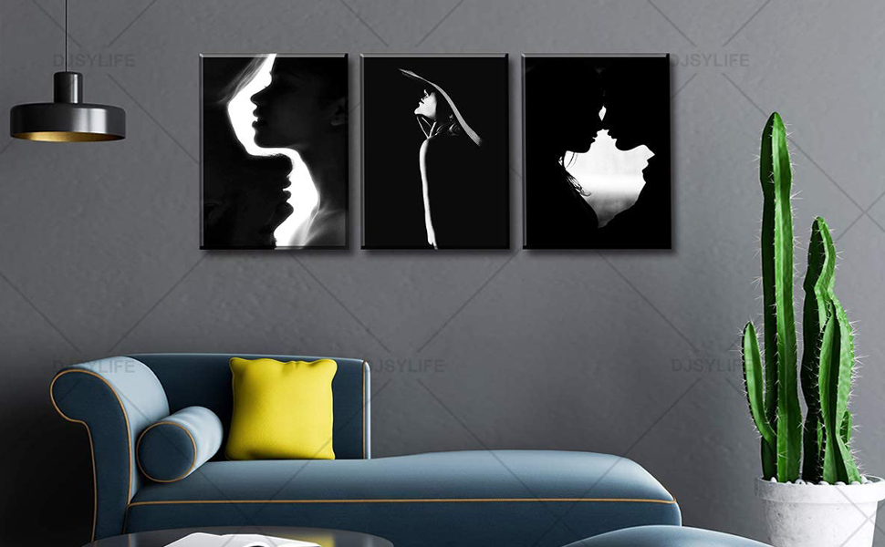 Amazon Com Couple Bedroom Decor Wall Art Black And White Canvas Print Silhouette Romantic Kiss Painting Modern Artwork Home For Bathroom Living Room Stretched Framed Ready To Hang 12 W X 16 H