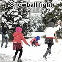 Four people snowball fight