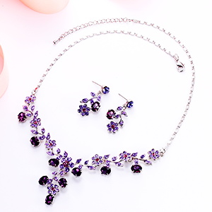 purple jewelry necklace set for mom, women, prom