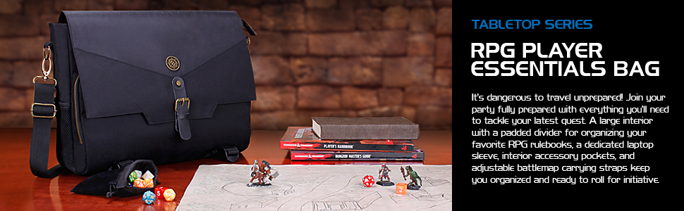 Bag next to battle map and miniature figures