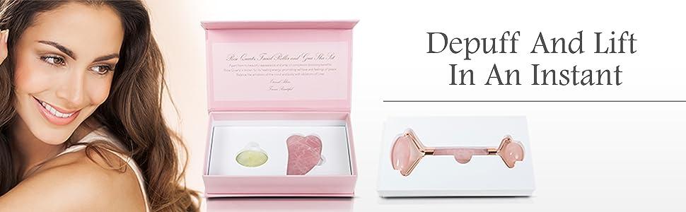 Eternal Allure Rose Quartz Roller & Gua Sha Set beauty face gift