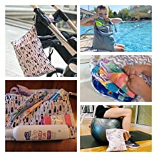 Blueangle 2pcs Travel Wet and Dry Bag Reusable Wet Bags Organizer with Two Zippered Pocket for Cloth Diaper Swimsuit and Gym Clothes,Highland Cattle