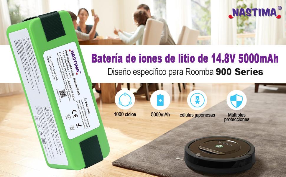 Nastima Actualiza la Batería de Iones de Litio de 14.8V 5000mAh Compatible con Roomba 985 980 960 895 890 880 870 860 805 790 780 770 760 695 690 680 675 650 640 620 614 590 563 510 [UL CE Aprobación]: Amazon.es: Hogar