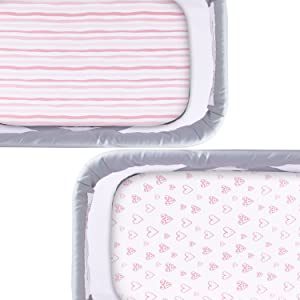 Bassinet Fitted Sheets Compatible with MiClassic 2in1 Stationary/&Rock Bassinet, 100/% Jersey Knit Cotton Fitted Sheets Mild Pink Stripes and Hearts Print for Baby Girls 2 Pack