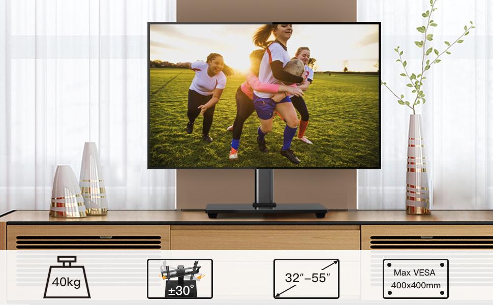 Soporte TV para Televisores de 32-55 Pulgadas - Soporte Giratorio de TV Ajustable en Altura, VESA máx. 400x400 mm, admite hasta 40 kg: Amazon.es: Electrónica