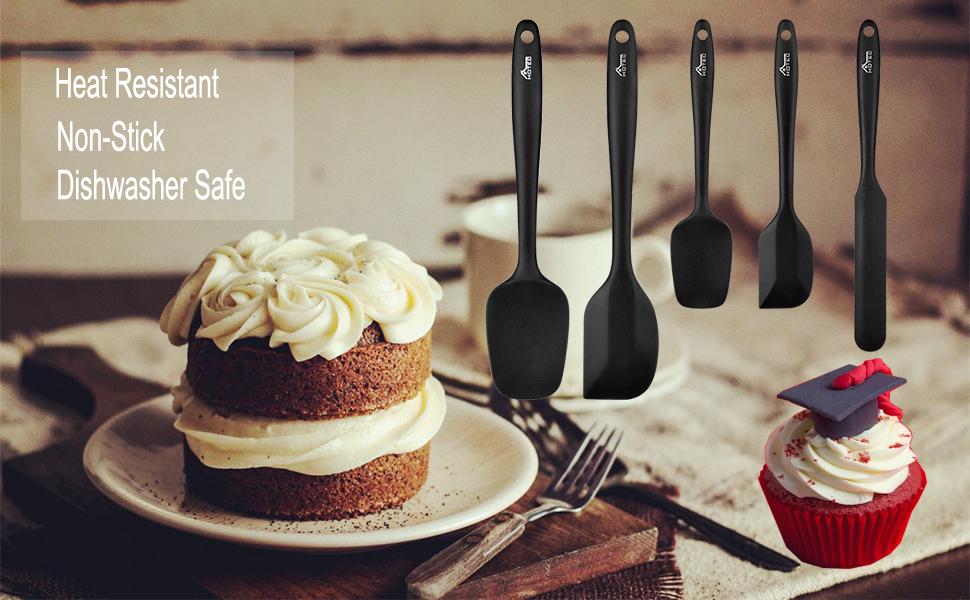 silicone spatula set heat resistant non stick dishwasher safe