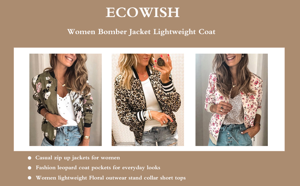 Women/'s Floral Pattern Long Sleeve Zipper Lightweight Slim Short Bomber Jacket
