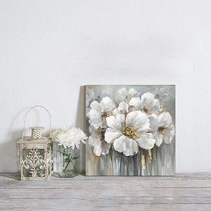 Abstract Flower Wall Art Pictures: White Lily Artwork Hand Painted Painting Floral Print on Canvas