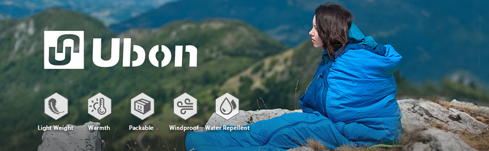 Ubon 32 Degree F Sleeping Bag ClusterLoft Water Resistant Down Sleeping Bag YKK zipper