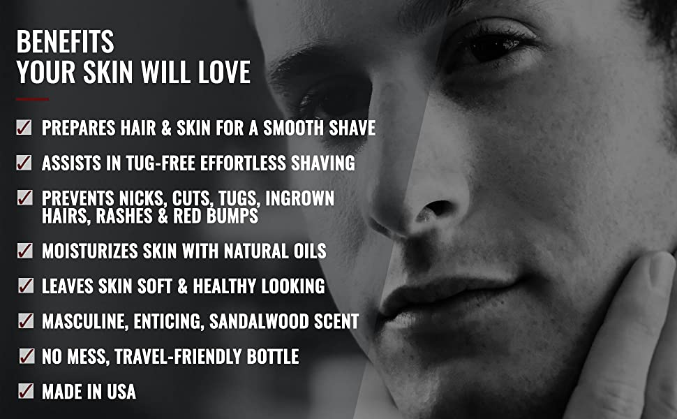 List of benefits of using American Shaving Co. Pre-Shave Oil with attractive man in background.