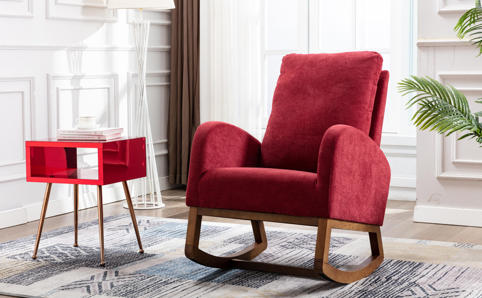 Dolonm Rocking Chair Mid-Century Modern Nursery Rocking Armchair Upholstered Accent for Living Room