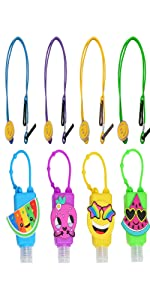 4 Pack Mask Lanyard for Kids Face Mask, 4 Kids Mixed Hand Sanitizer Travel Size Keychain Carriers