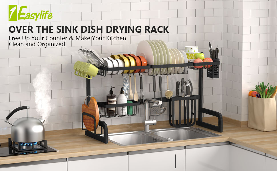 HEOMU Over The Sink Dish Drying Rack,2-Tier Large Dish Drainers for Kitchen Counter Made of Length