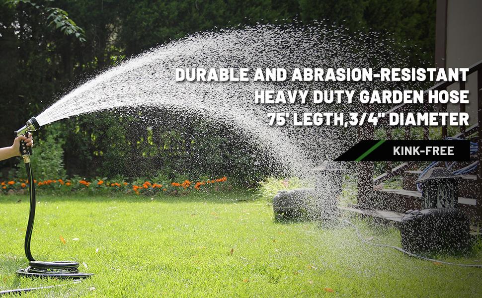 worth garden no kink garden hose high pressure 75 feet brass fittings weatherproof