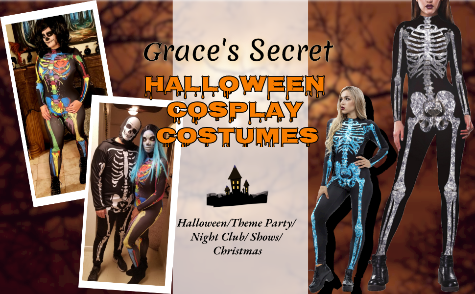 Graces Secret Womens Halloween Costumes 3D Skeleton Cosplay Jumpsuit Bodysuit