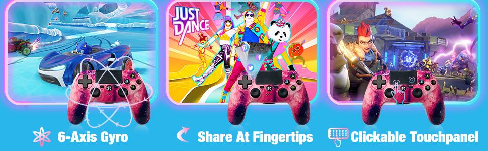 pink ps4 gamepad