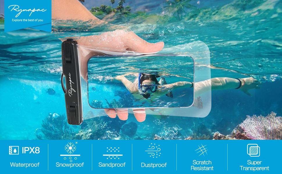black waterproof phone pouch