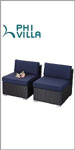 phi villa 2 piece patio sofa