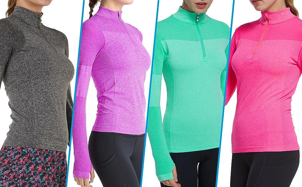 Westkun Femmes Demi Fermeture /Éclair Tops Shirt de Course /à Pied /à Entra/înement Manches Longue /à S/échage Rapide T-Shirt de Sport