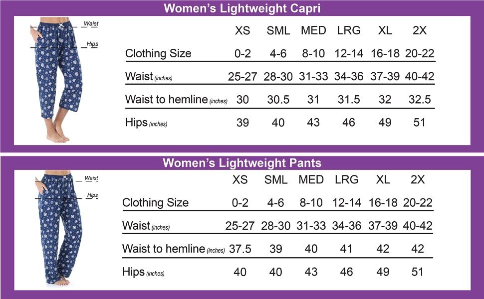 Tee & Capri and Tank & Capri Size Chart