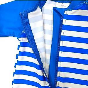 Aschlop Baby Boy Sunsuit UPF50+ Blue Stripe Summer Zipper Garage Swimsuit free caps