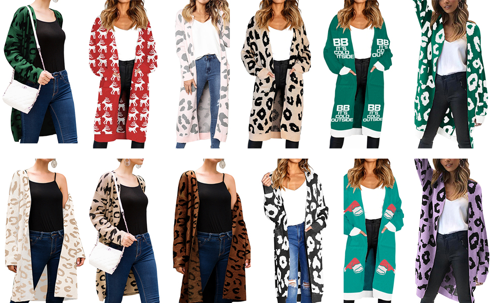 65fc994e6feb Angashion Women's Long Sleeves Leopard Print Knitting Cardigan Open Front  Warm Sweater Outwear Coats with Pocket