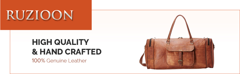 Ruzioon High Quality Hand Crafted Genuine Leather Bags Duffle Gym Travel Airport Holiday Overnight