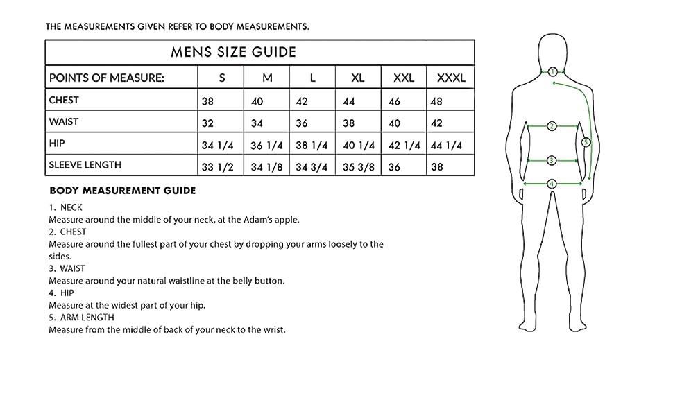 Size guide men