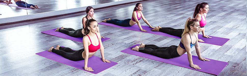 Saferell Yogamatte Gymnastikmatte rutschfeste aus TPE,Hypoallergen sportmatte mit Tragegurt,Fitnessmatte f/ür Yoga Pilates Fitness /Übungen und Gymnastik,Trainingsmatte 183 cm x 61 cm x 0.6 cm