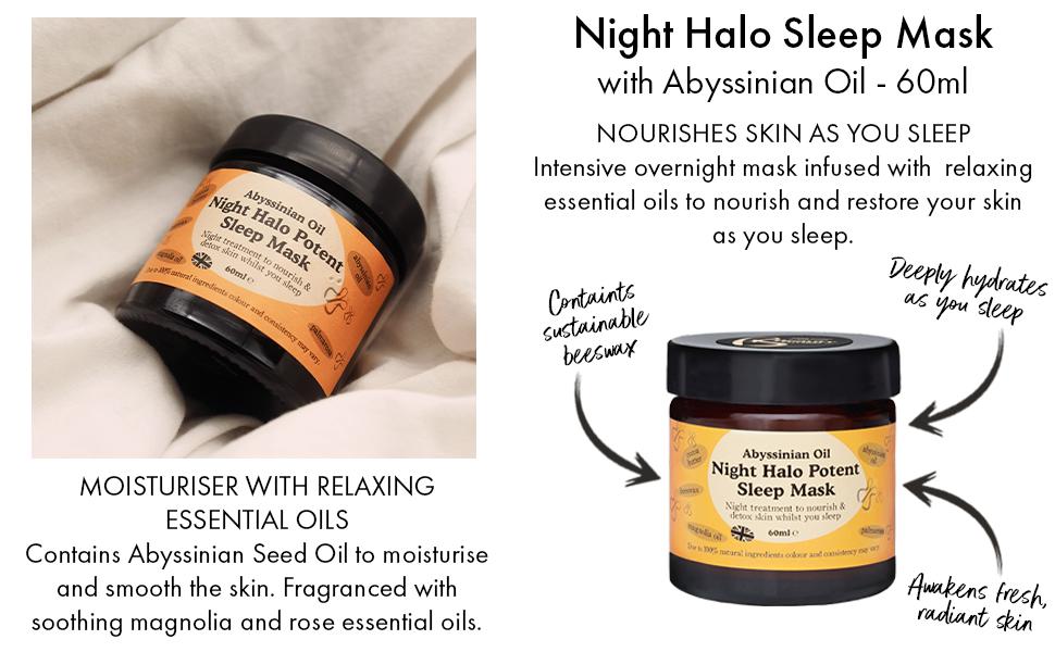 abyssinian oil night halo sleep mask 60ml