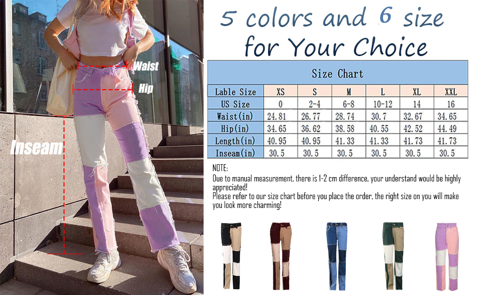 5 colors and 6 sizes for your choice