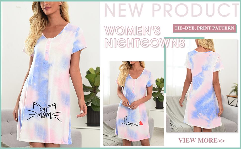KIKIBERRY Women's Short Sleeve Print V Neck Button Tie Dye Nightgown Sleepwear Pajamas