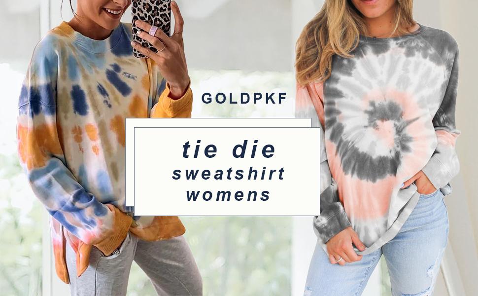 GOLDPKF Women Tie Dye Crewneck Pullover Sweatshirt Casual Color Block Loose Long Sleeve Tops