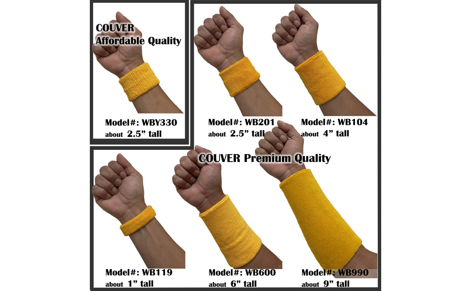1 Pair Couver 1 inch Soft Cotton Bicep//Arm Band Terry Cloth Workout Band