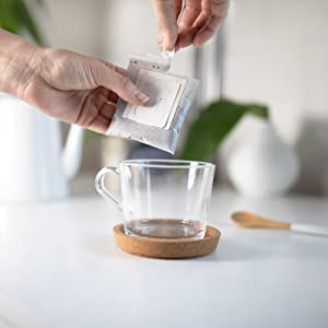 Open Pre-Filled Coffee Filter Pouch