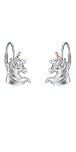 Rose Gold Unicorn Earrings