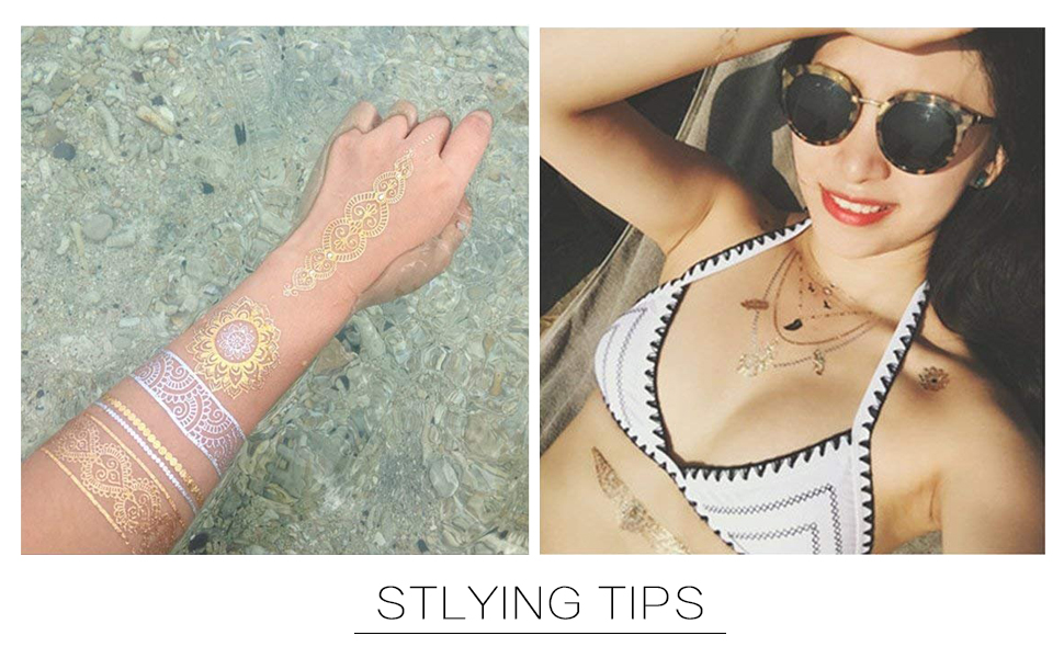 MUYOS 20 Hojas de Tatuajes Temporales Mujer Metalicos Dorados ...