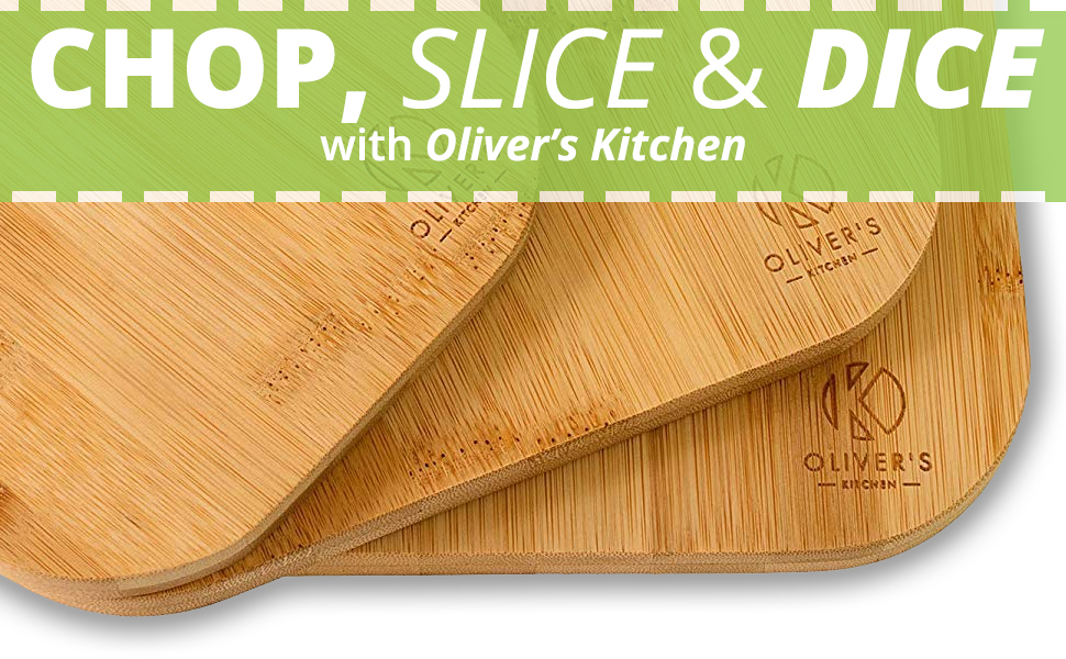 Chop, slice & dice with Oliver's Kitchen's Wooden Chopping Board Set