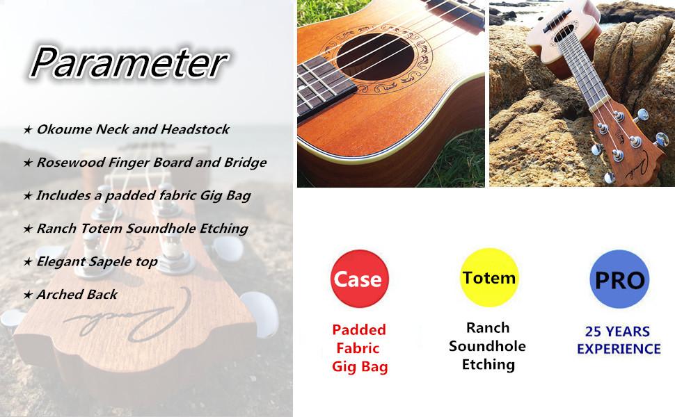 Ranch Left handed Concert Ukulele 23 inch Professional Wooden ukelele Instrument with  Gig Bag