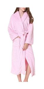 Womens Plush Flannel Long Bath Robe